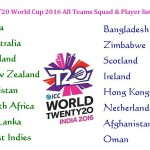 T20 World Cup 2016 Team List
